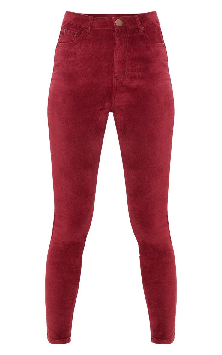 Burgundy Velvet Skinny Jeans  3