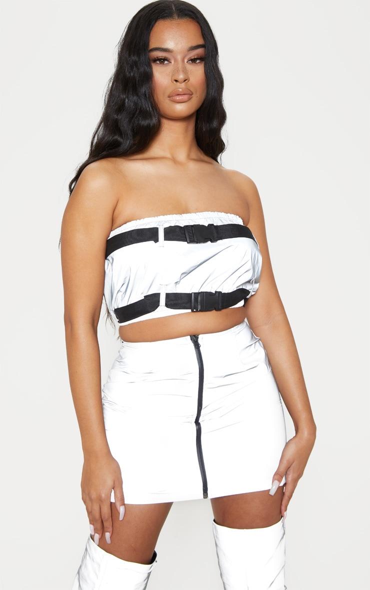 Grey Reflective Zip Up Mini Skirt 1