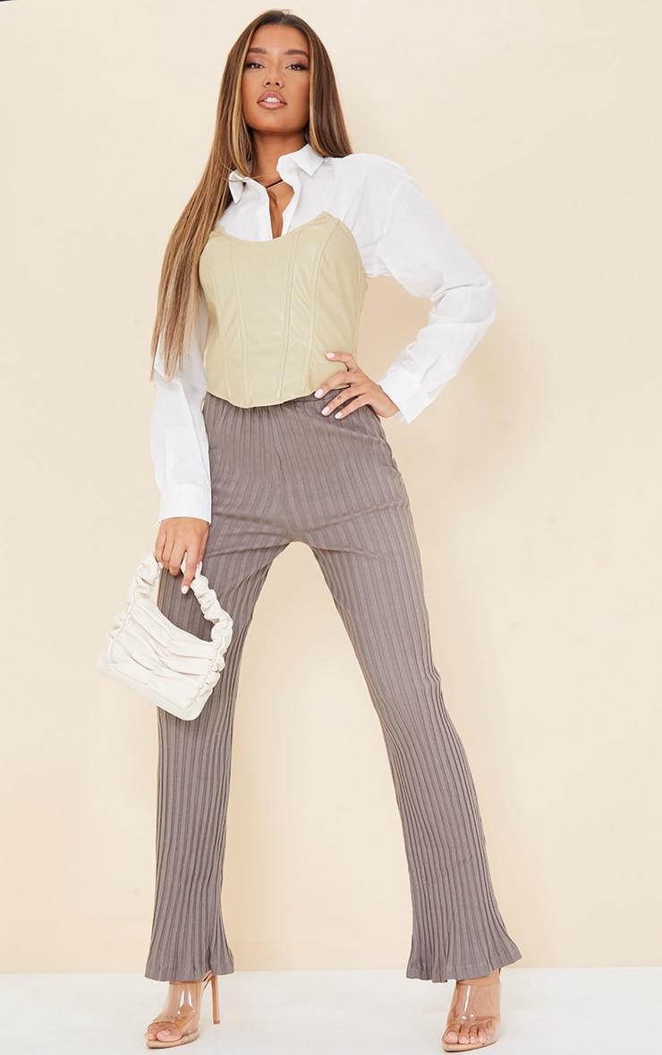 Charcoal  Jumbo Cotton Rib Wide Leg Pants 1