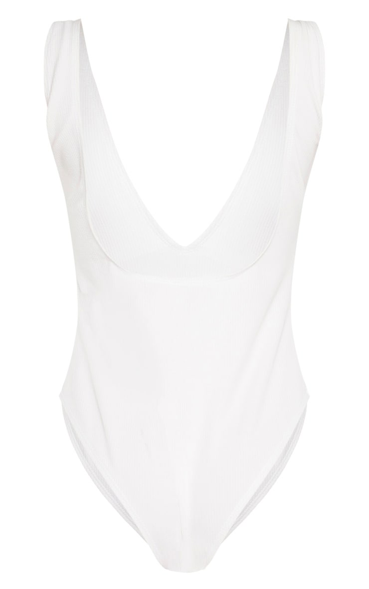 White Rib Plunge Lace Up Belted Swimsuit 6