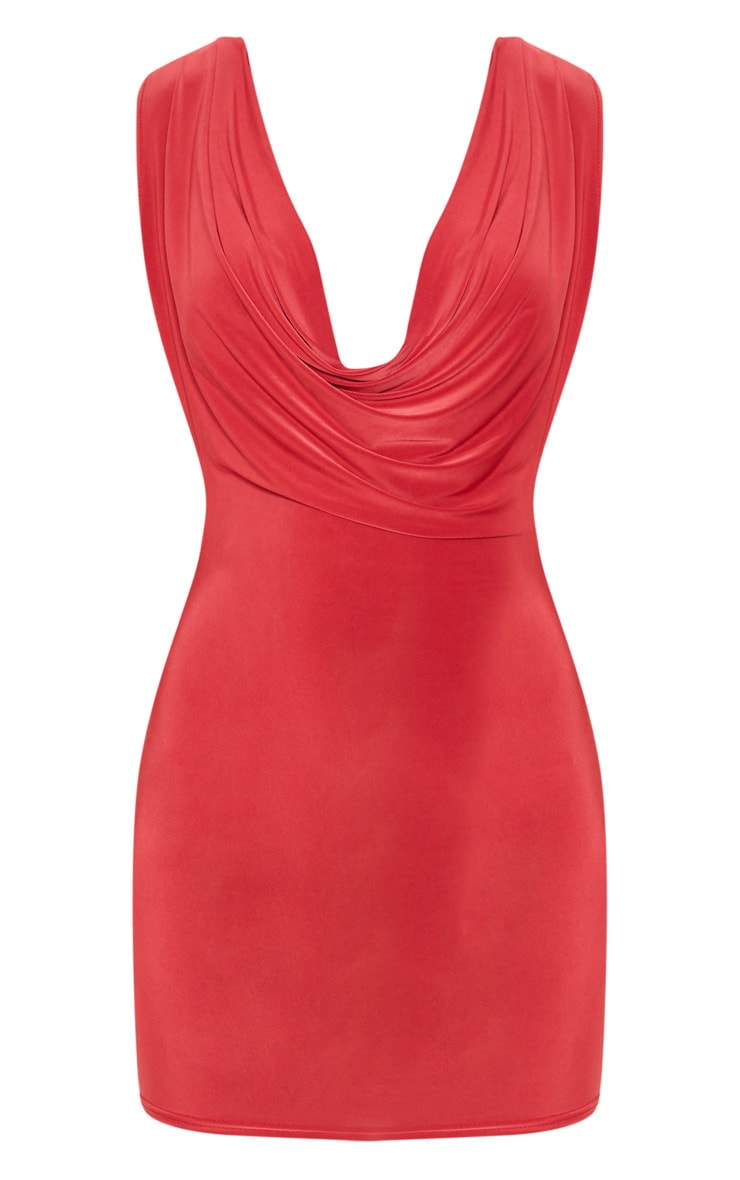 Red Slinky Extreme Cowl Front & Back Sleeveless Bodycon Dress 3
