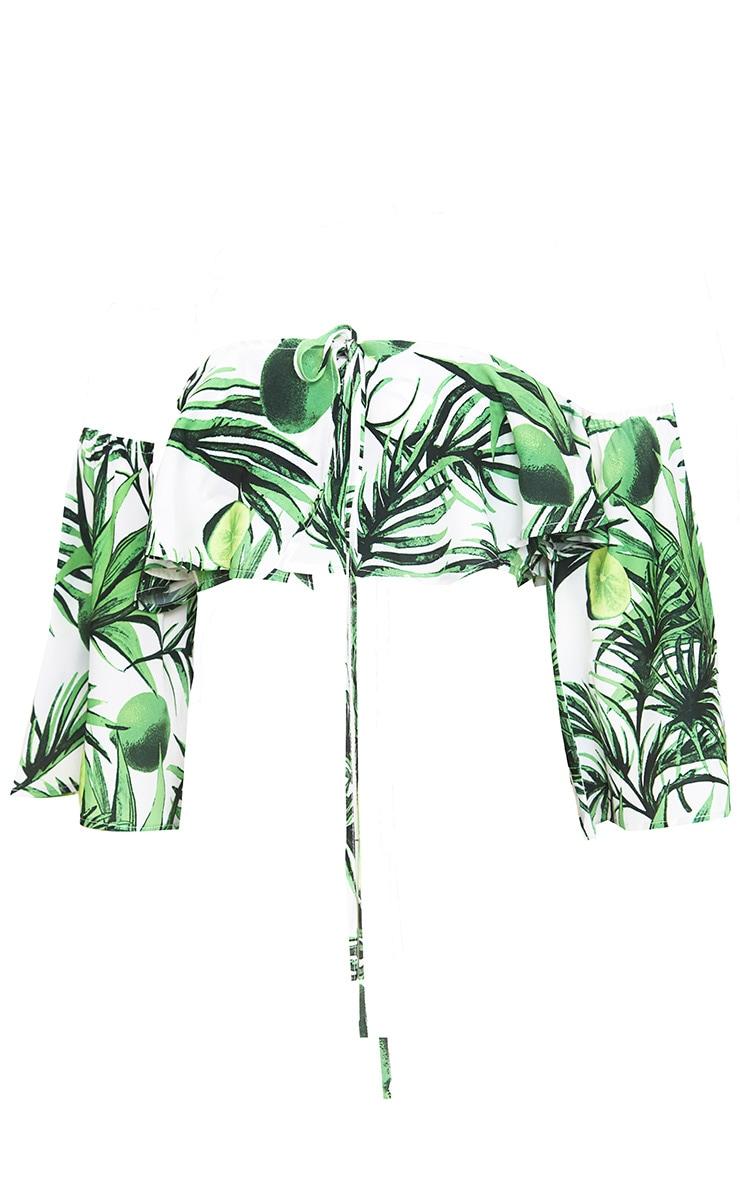 White Tropical Print Crop Top  4
