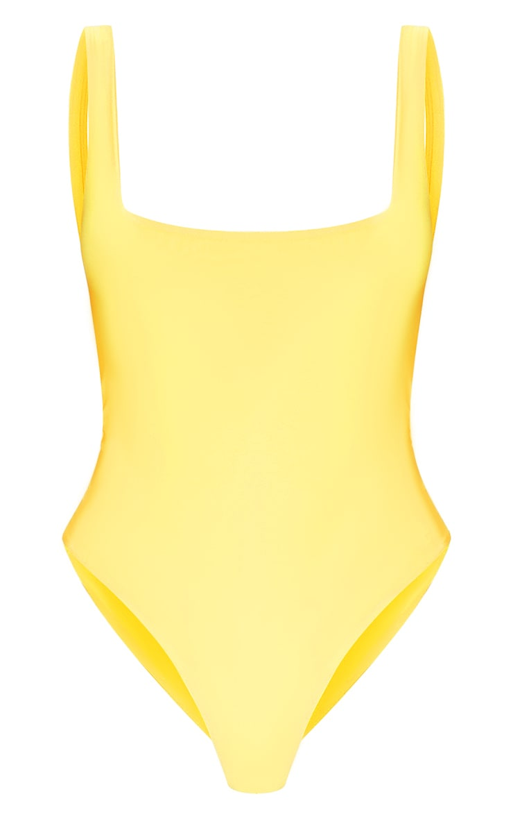 Yellow Second Skin Square Neck Sleeveless Thong Bodysuit  3