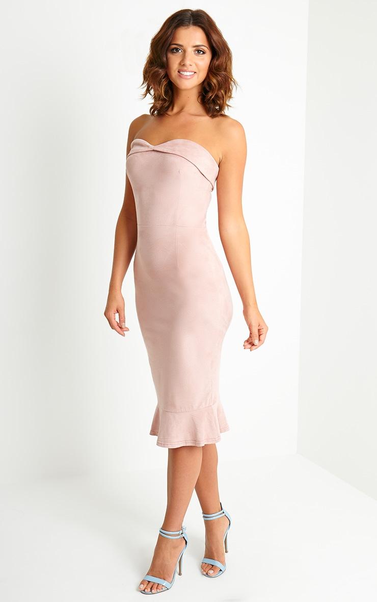 Lorena Dusty Pink Suede Bandeau Midi Dress 4