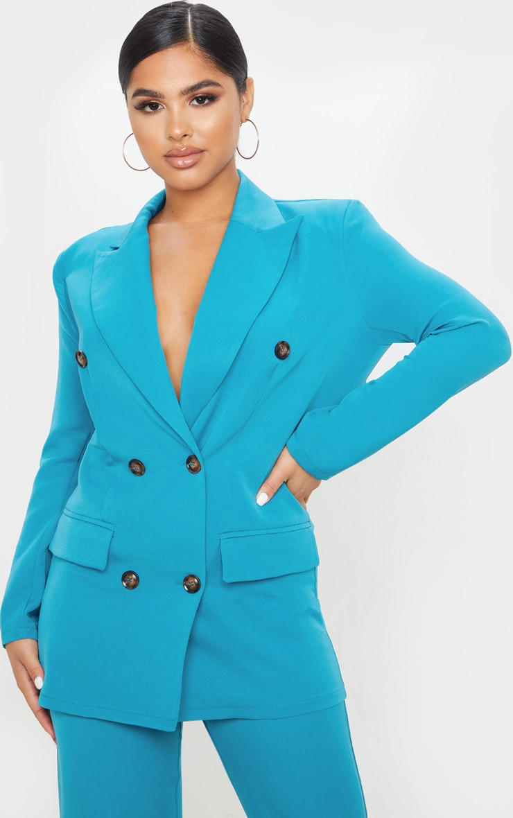 Petite Teal Woven Oversized Longline Button Detail Blazer  1