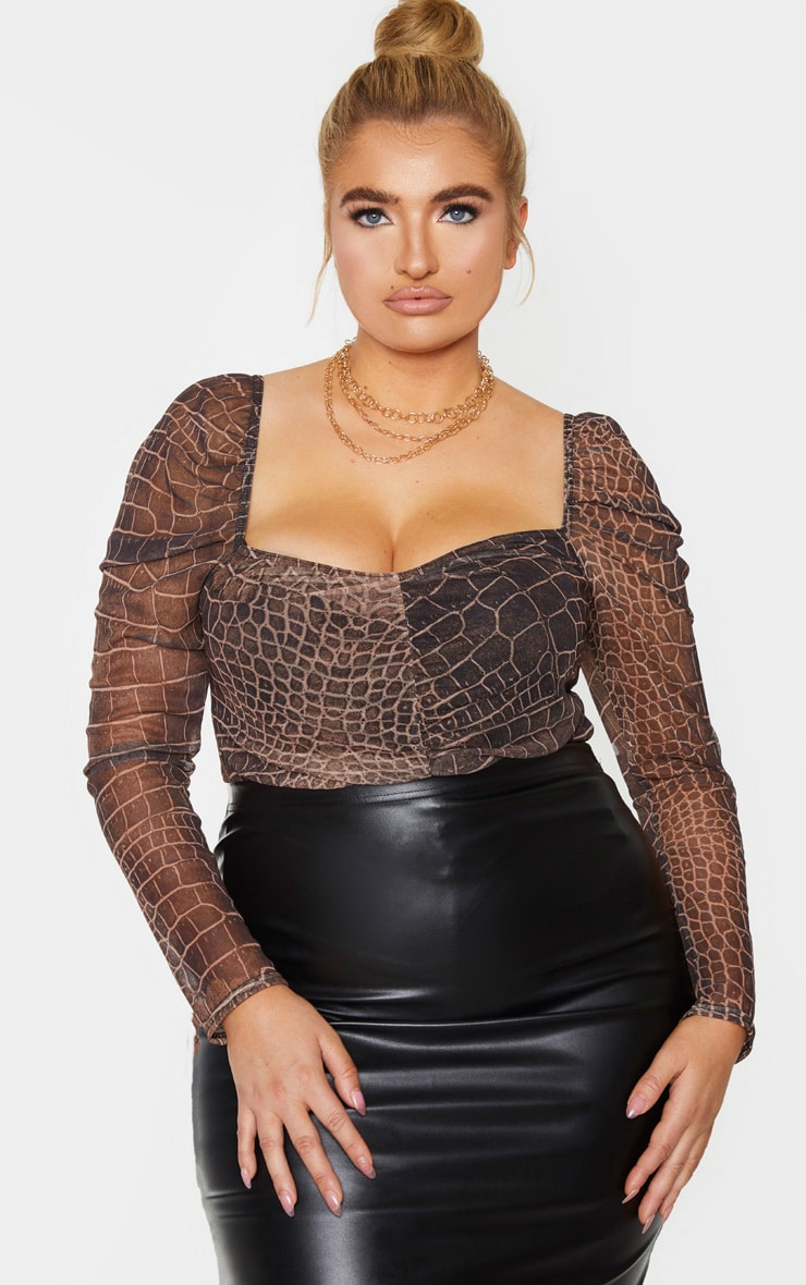 Plus Brown Croc Print Mesh Ruched Front Puff Sleeve Bodysuit 1