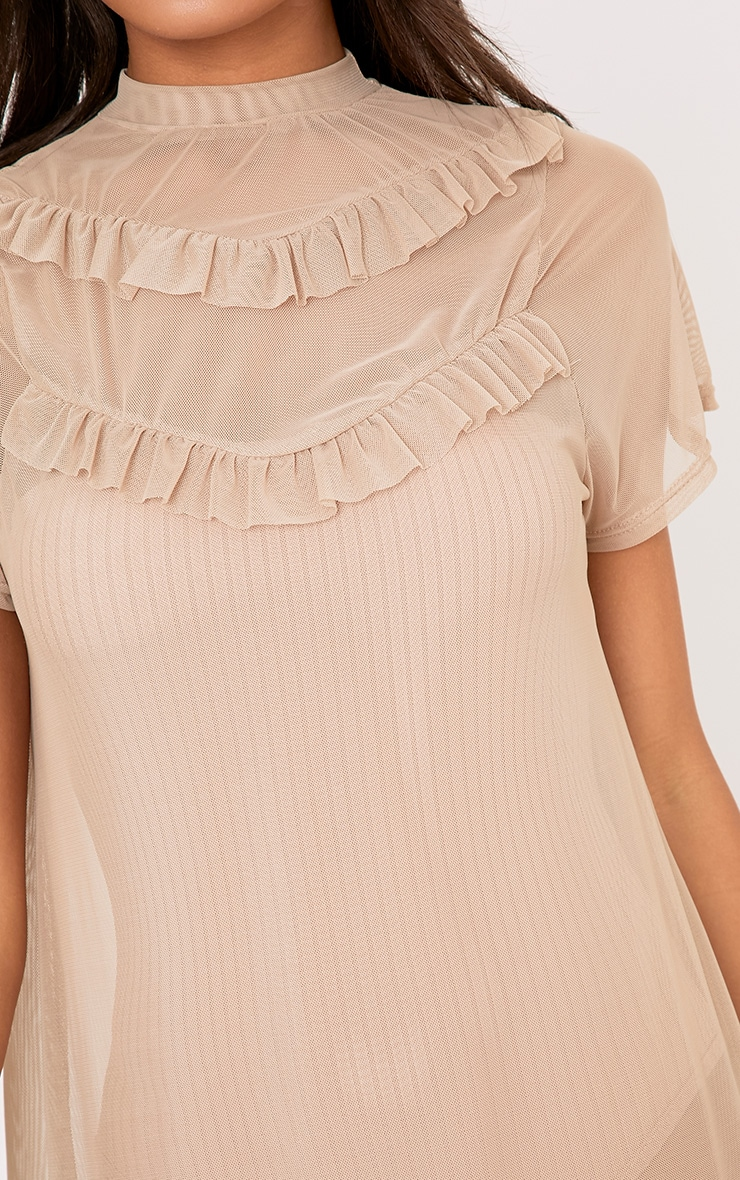 Betty Nude Mesh Frill T Shirt Dress 4