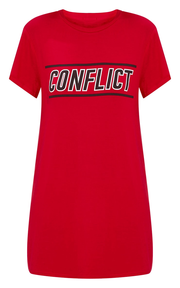 Red Conflict T Shirt Dress 3