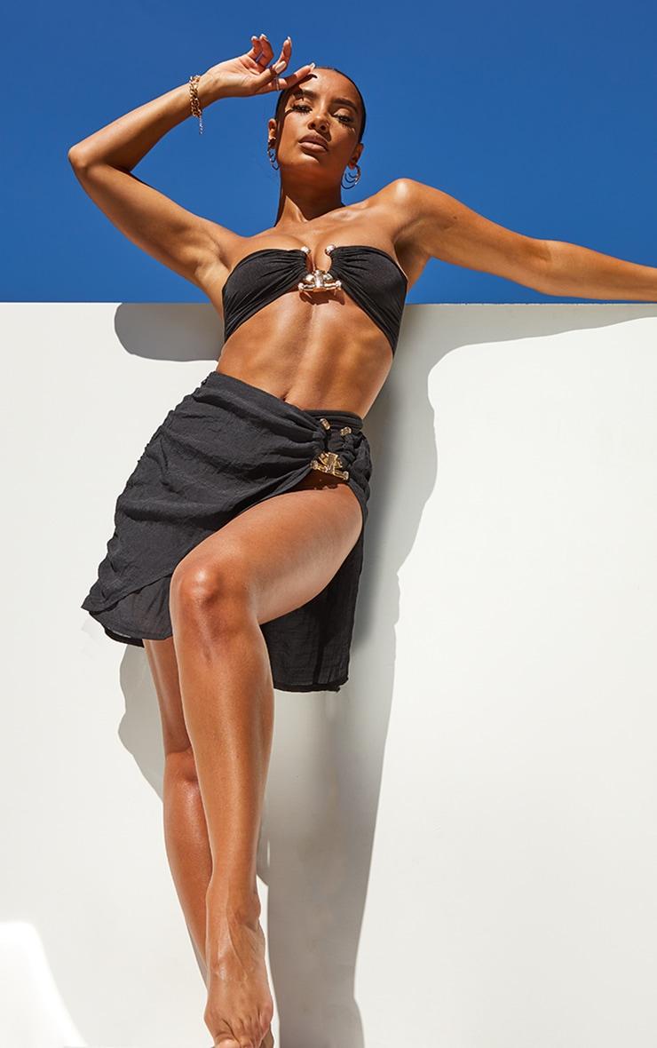 Black Linen Look Hammered Trim Beach Skirt 1