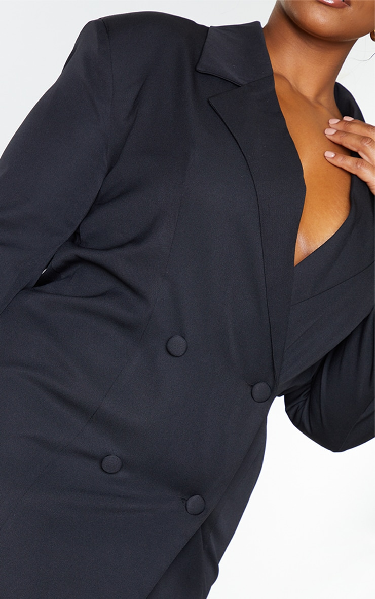 Plus Black Double Breasted Backless Blazer Dress 4
