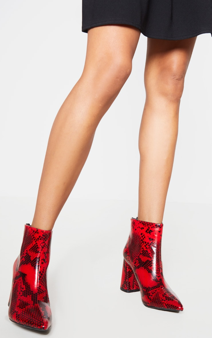 Red Snake Wide Fit Zip Back Ankle Boot 1
