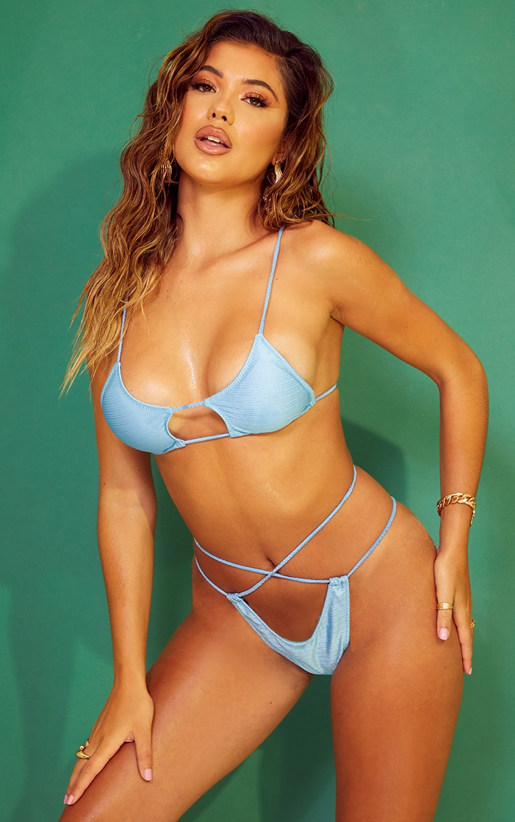 Blue Shiny Cut Out Tie Bikini Top 3