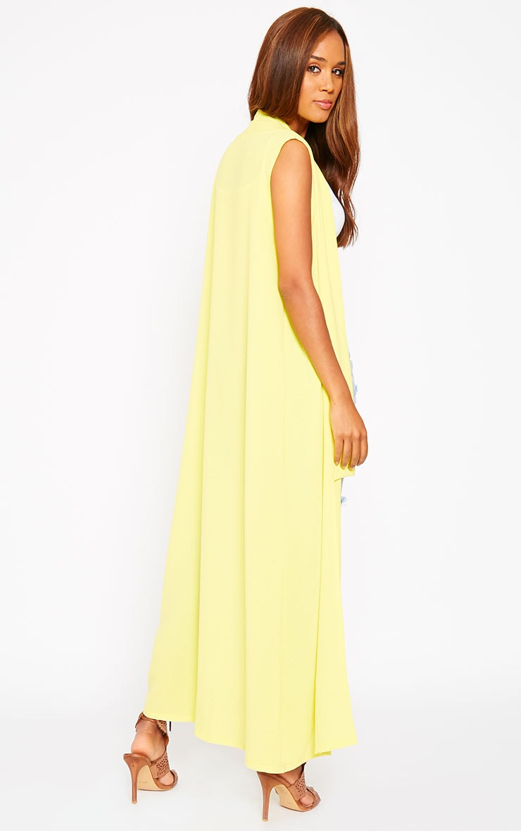 Georgena Yellow Sleeveless Duster Coat 5