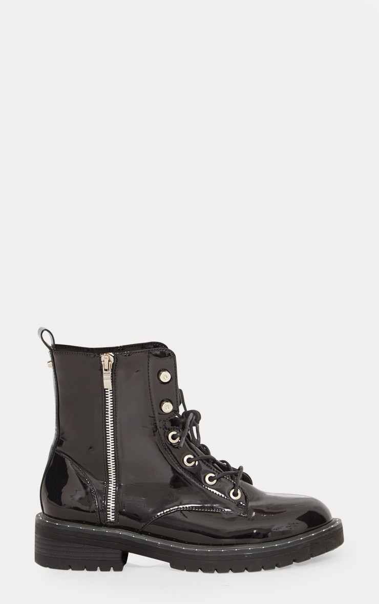 Black Chunky Lace Up Boot 4