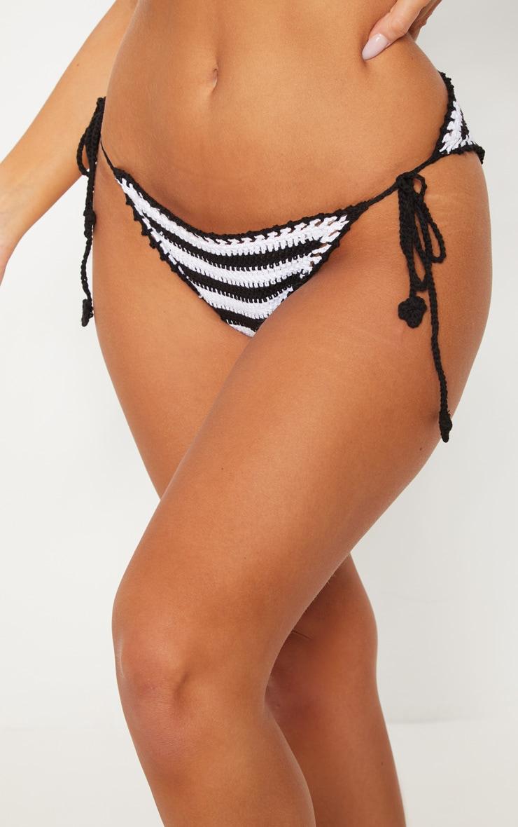 Black Striped Knitted Tie Side Beach Bottom 6