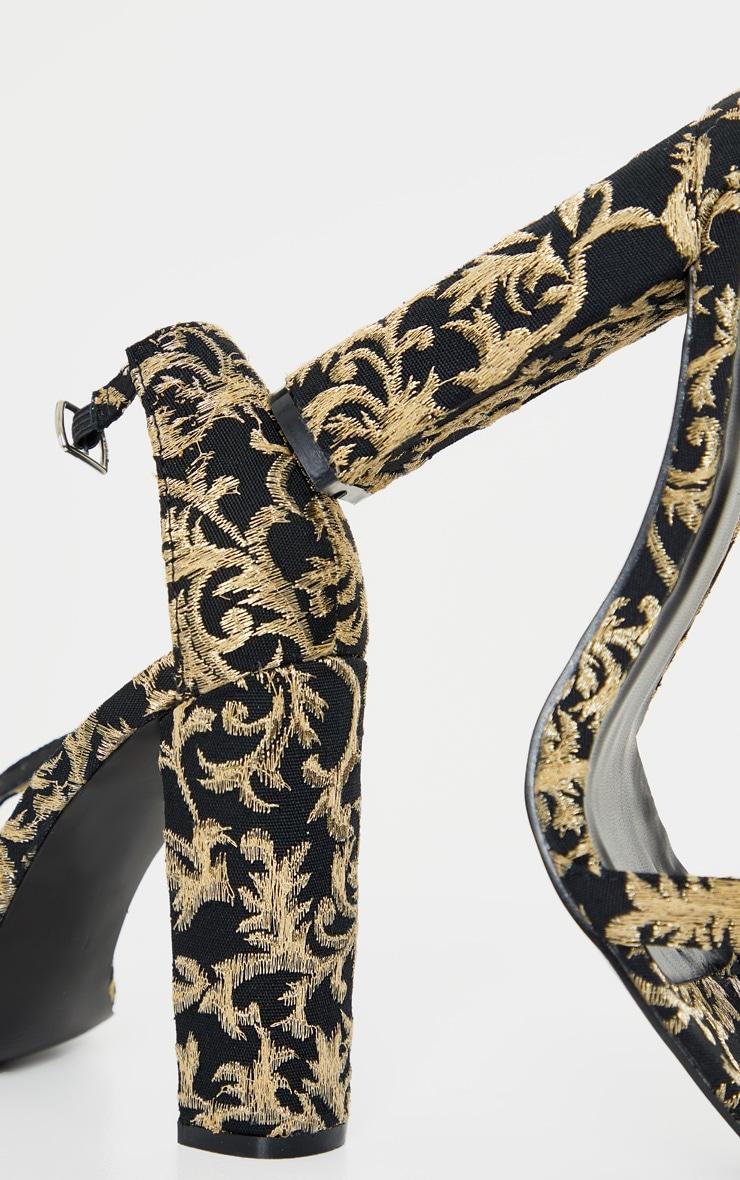 Black And Gold Brocade May Heeled Sandals 4