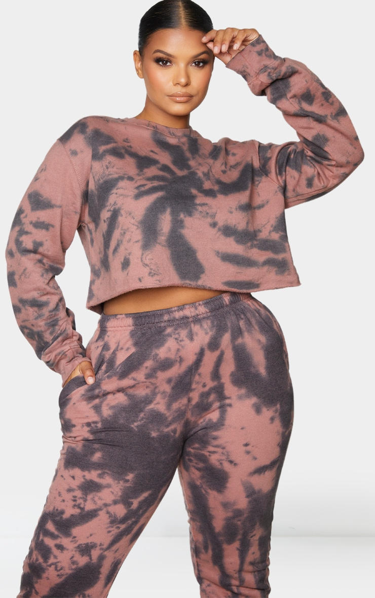 Plus Rust Tie Dye Cropped Sweater 1
