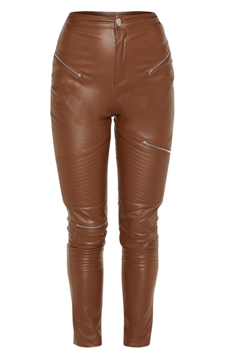 Tan Faux Leather Biker Skinny Trouser  3