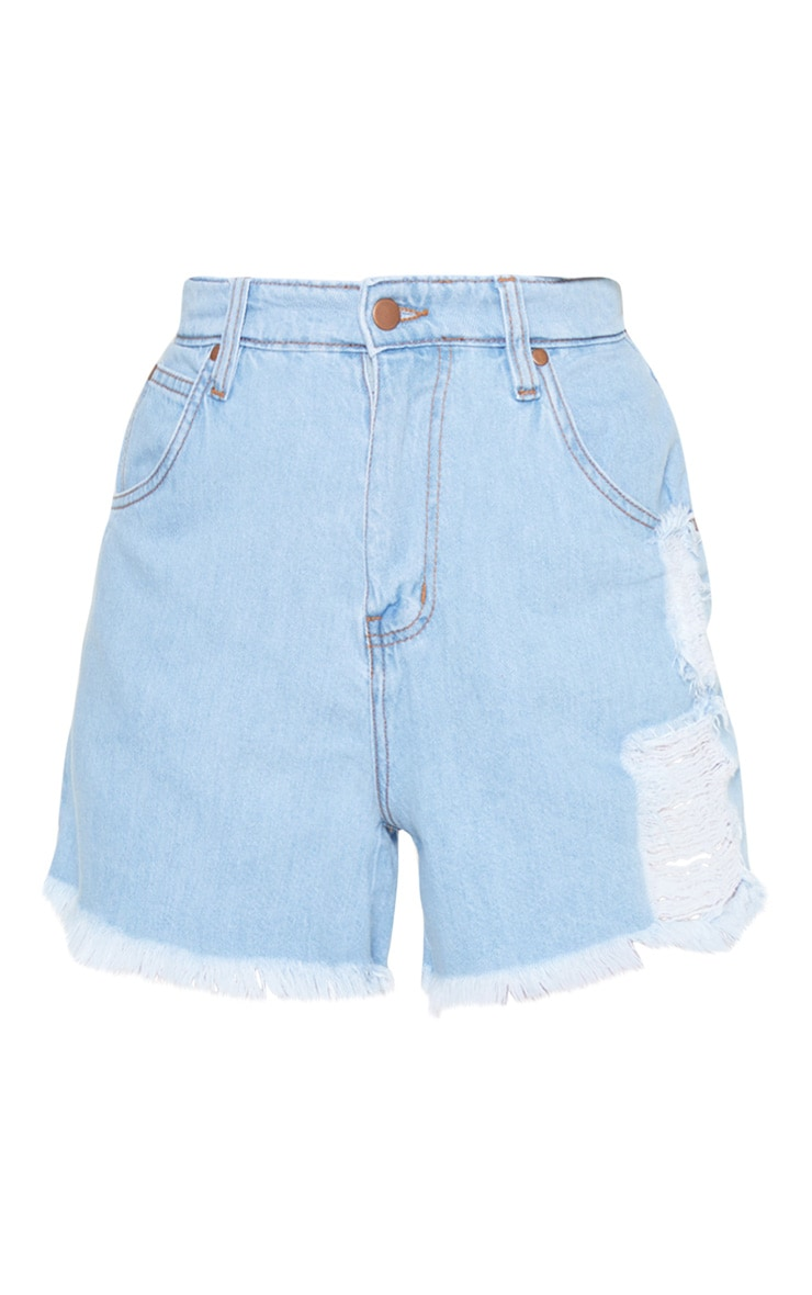 Tall Light Wash Frayed Hem Distressed Denim Shorts 3