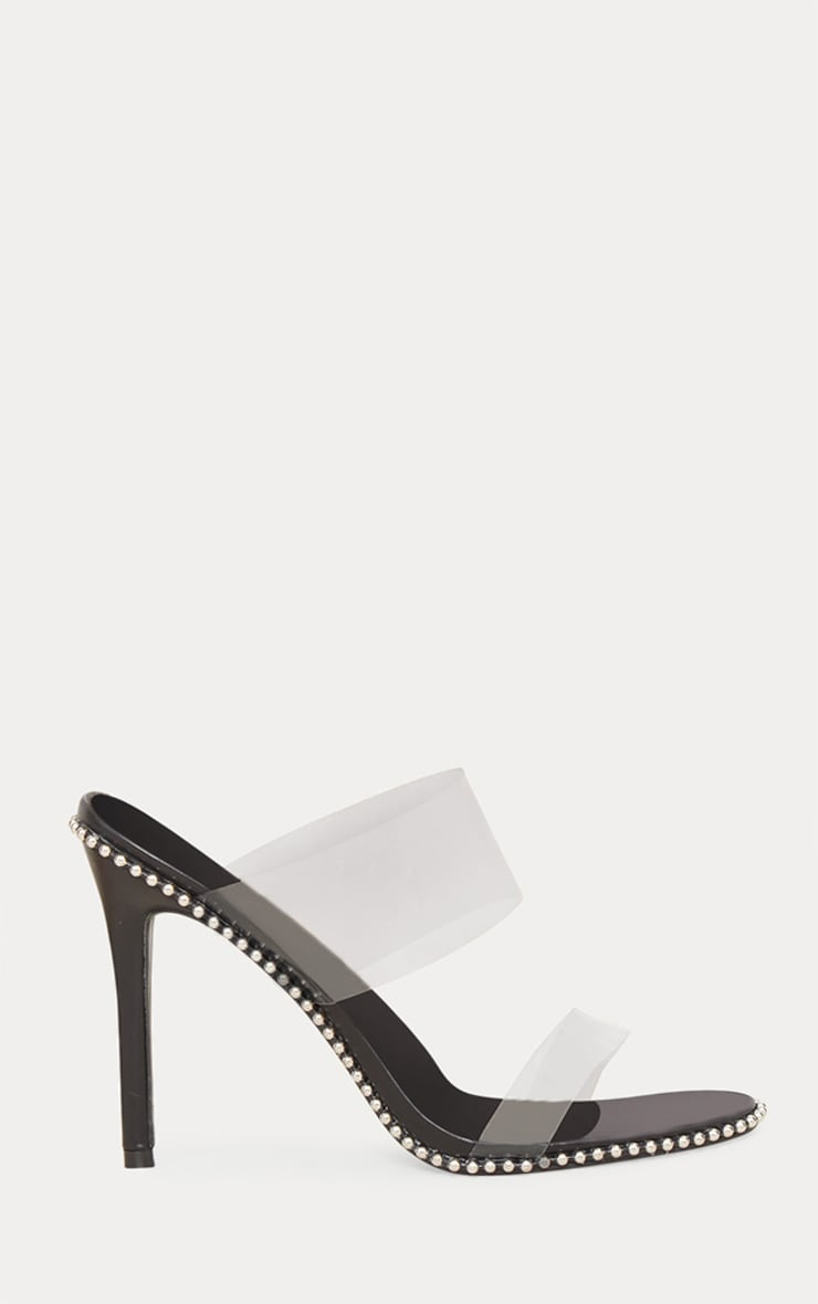 Black Studded Clear Mule 3