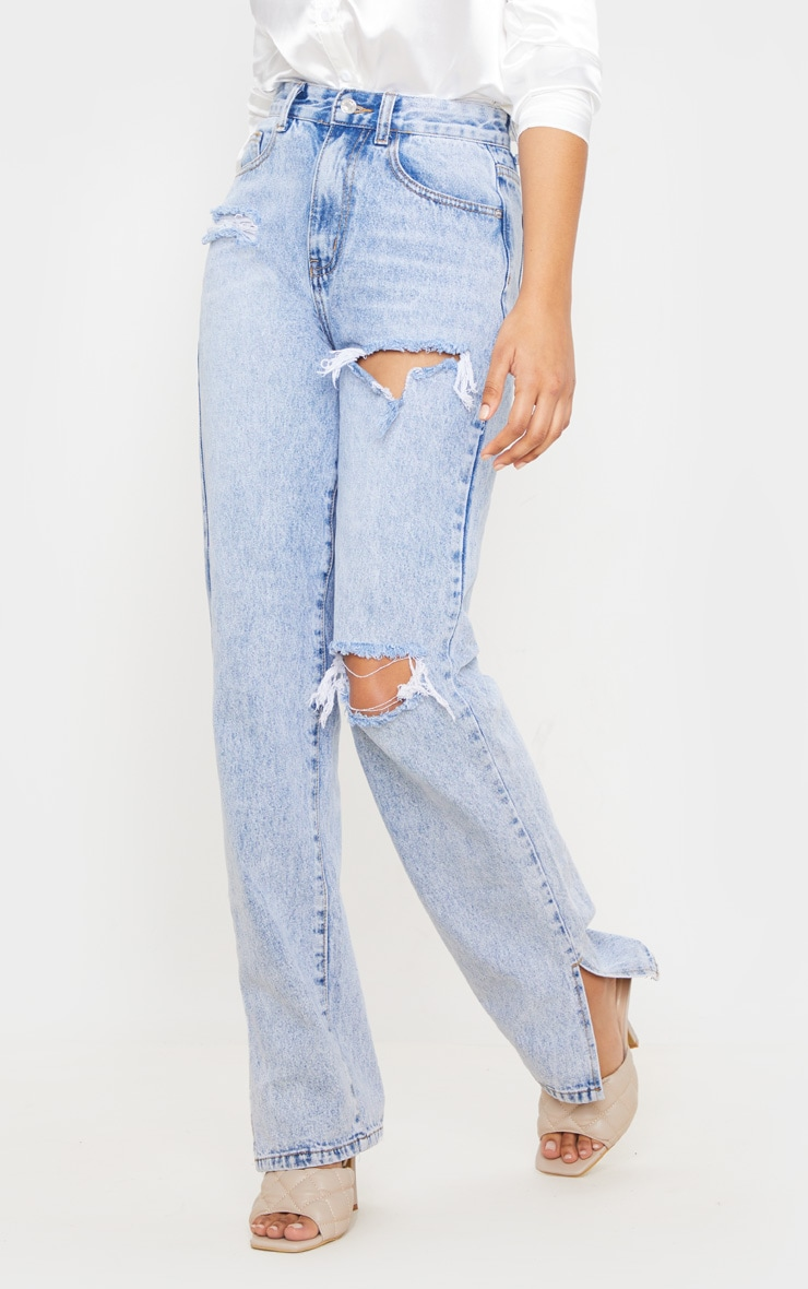 Ice Blue Distressed Split Hem Jeans 2