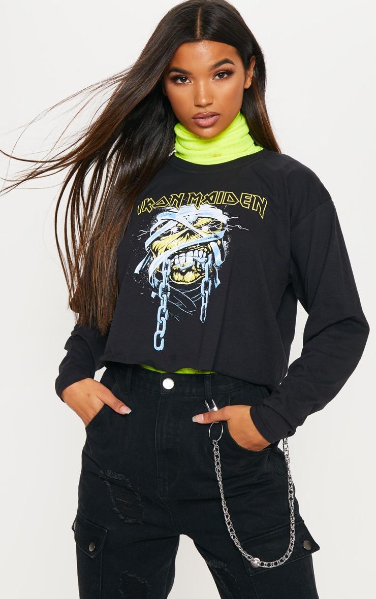 Tee-shirt court noir manches longues à motif crâne et slogan Iron Maiden