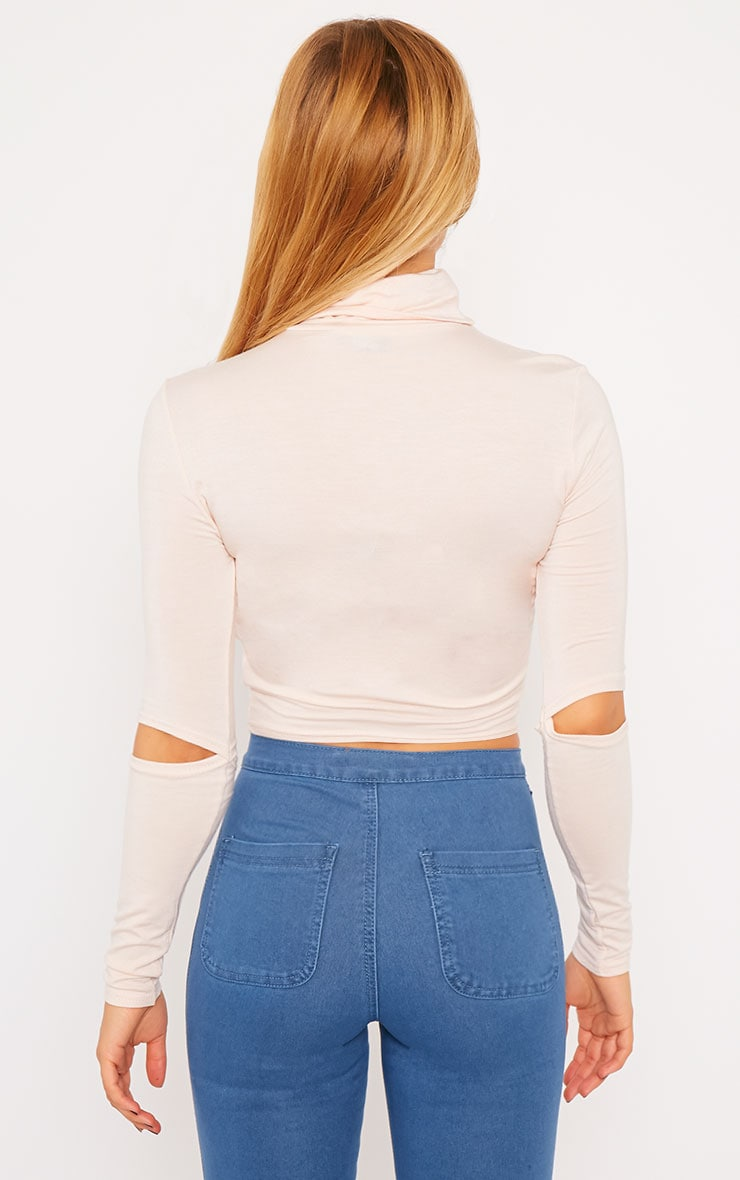 Clara Nude Split Sleeve Roll Neck Crop Top 2