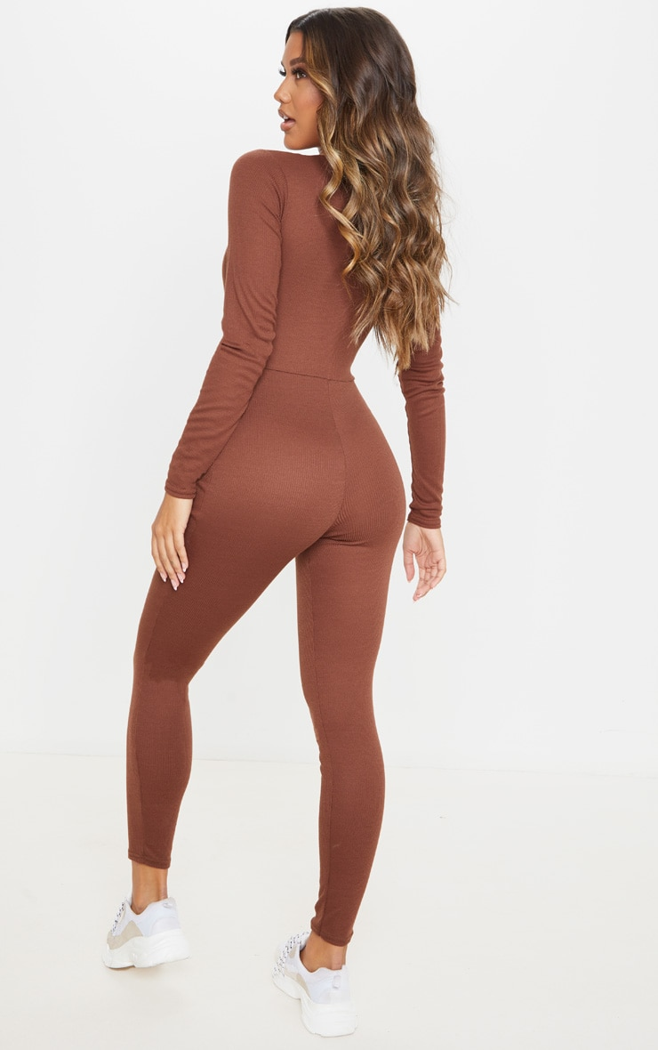 Chocolate Rib Popper Detail Long Sleeve Jumpsuit 2