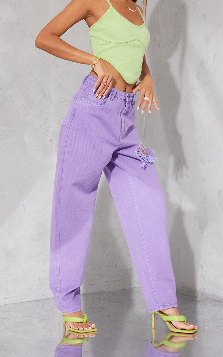 Purple Washed Thigh Ripped Boyfriend Jeans 2
