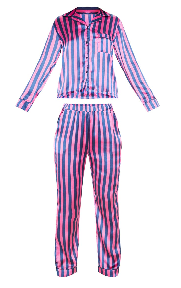 Navy And Pink Stripe Long Satin PJ Set 3