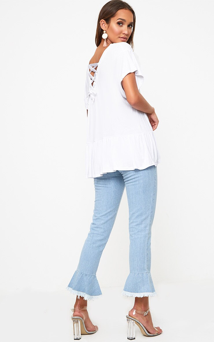 White Lace Up Back Frill Hem T Shirt 2