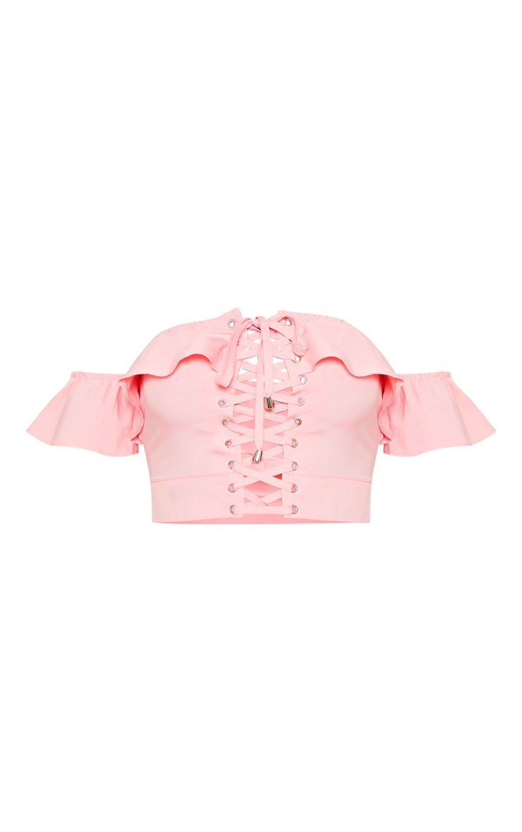 Rose Frill Lace Up Bardot Crop Top 3