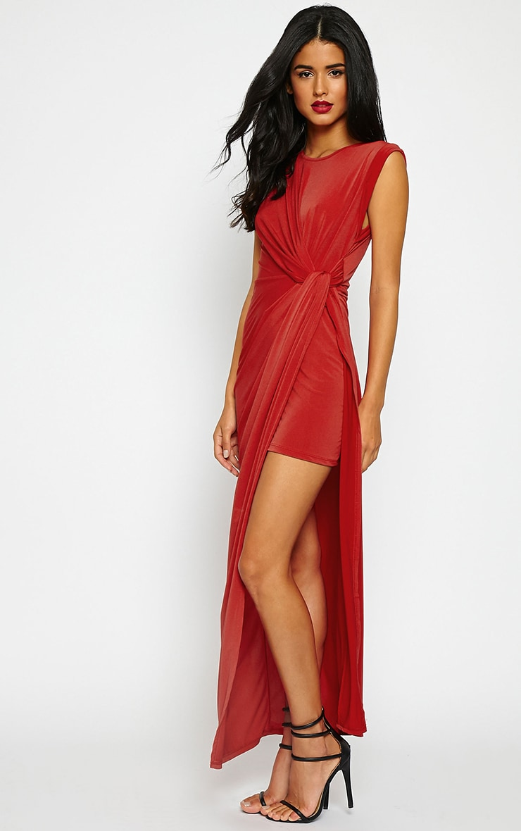 Reeta Red Twist Front Maxi Dress 1