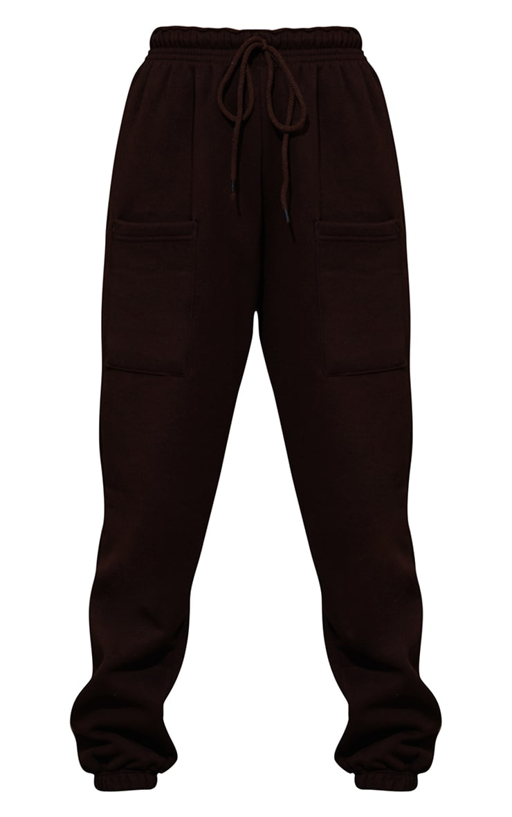 Petite Chocolate Brown Pocket Thigh Casual Joggers 5