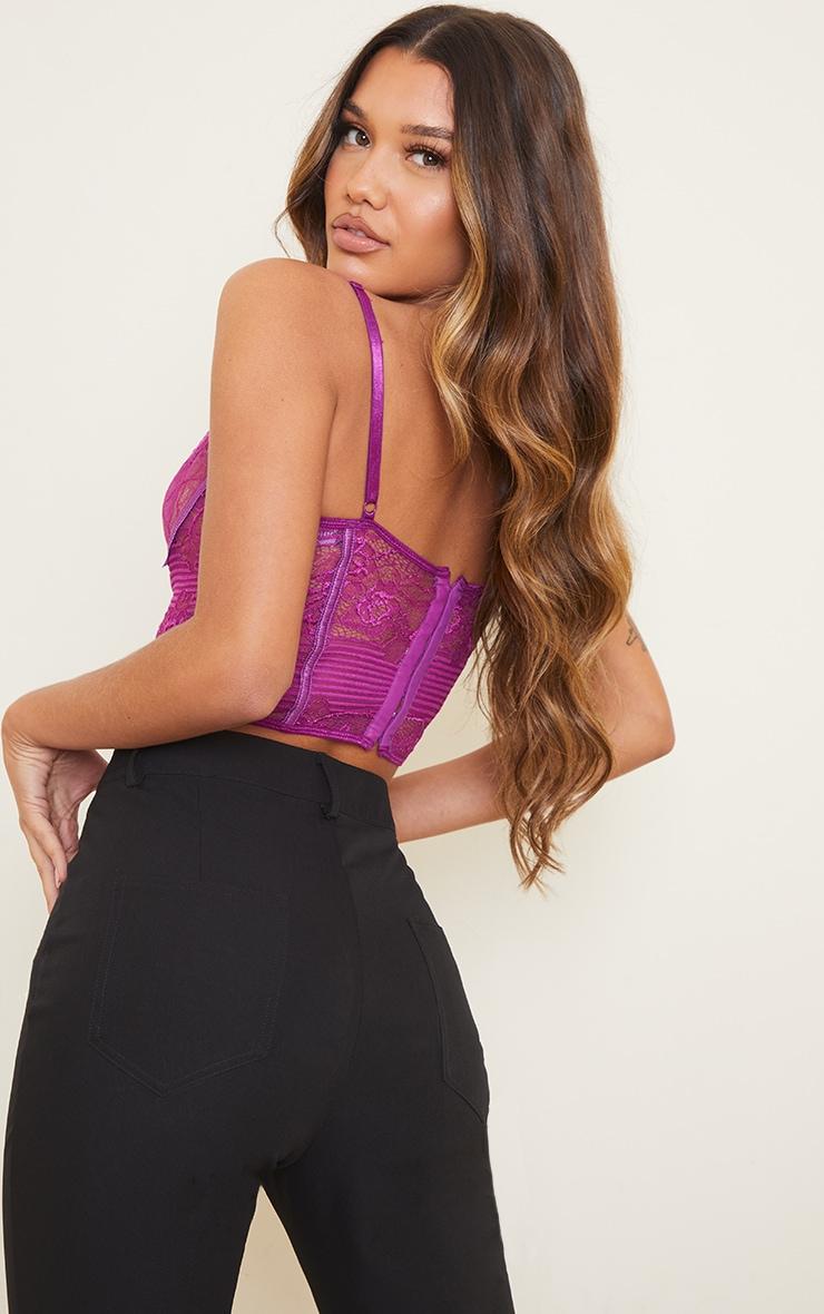 Purple Lace Underwire Crop Top 2