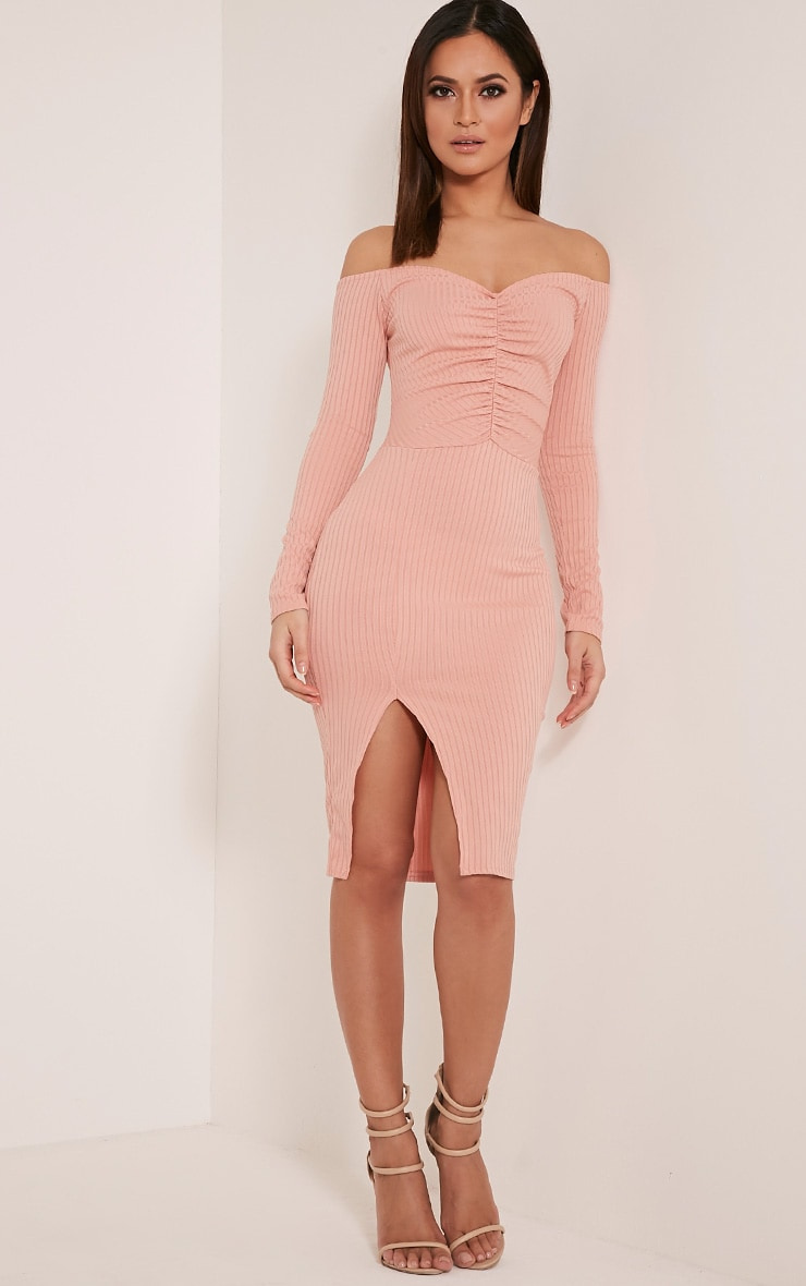 Deelia Dusty Pink Ruched Front Ribbed Midi Dress 1