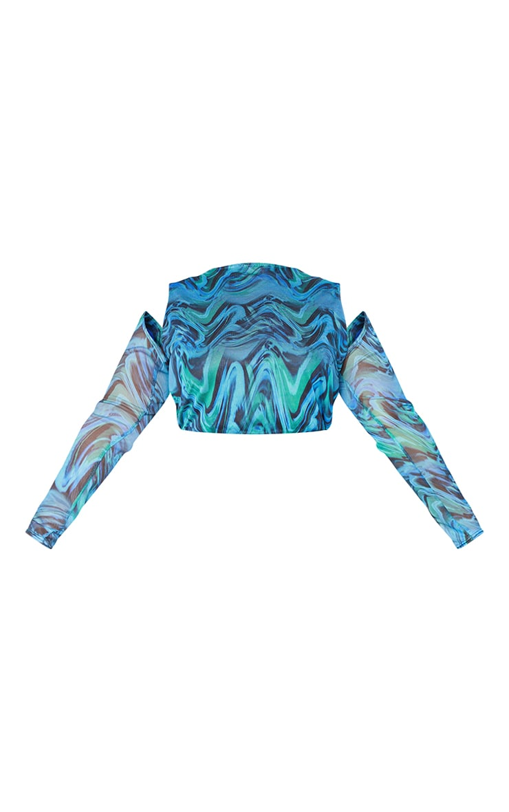 Plus Blue Abstract Print Mesh Layered Long Sleeve Crop Top 5