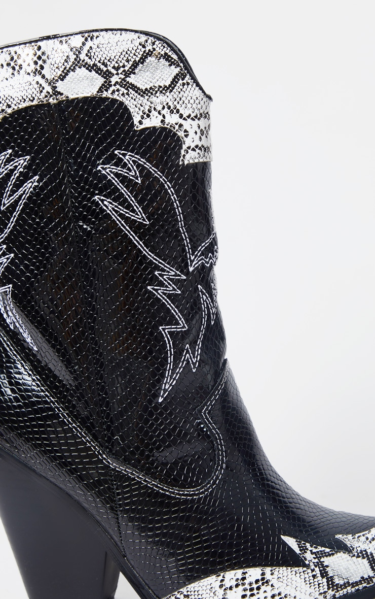 Black Contrast Snake Stitch Detail Ankle Western Boot 5