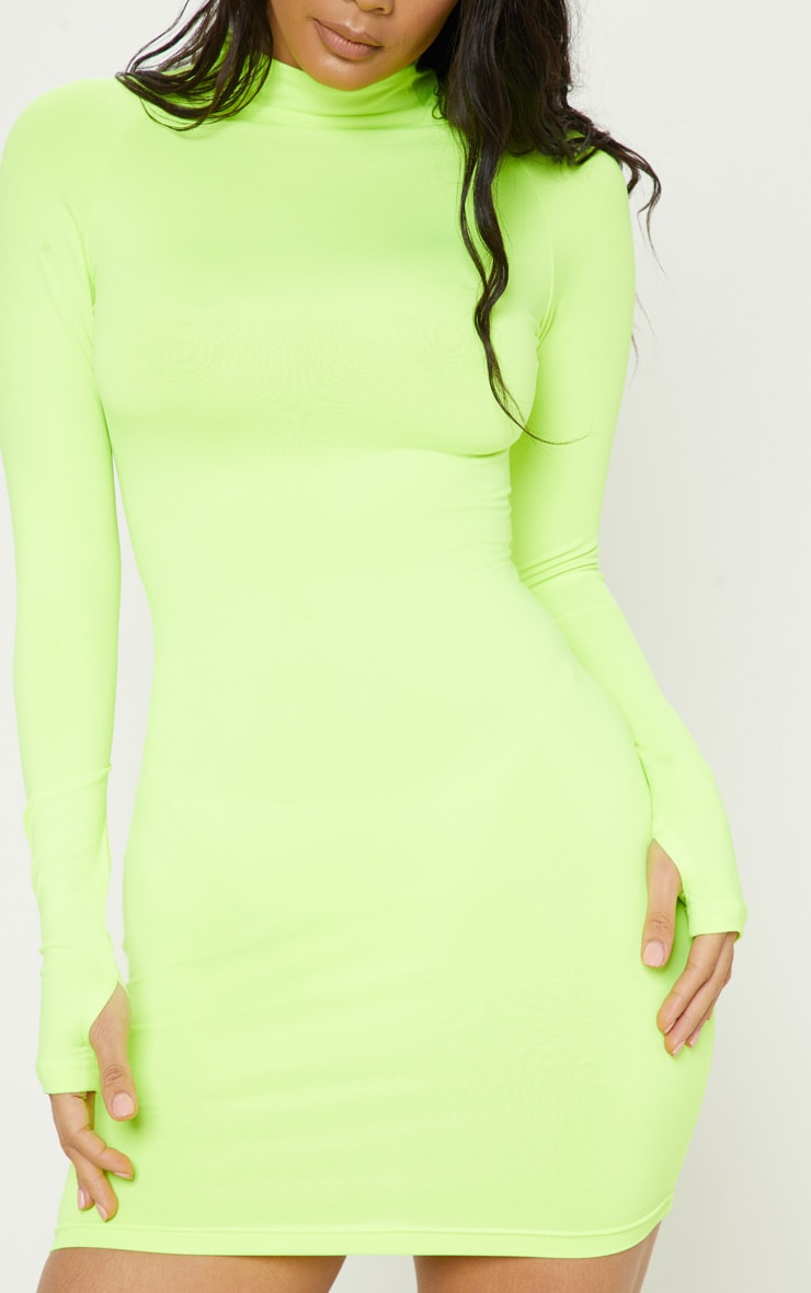 Lime Slinky Long Sleeve Zip Up Bodycon Dress 5