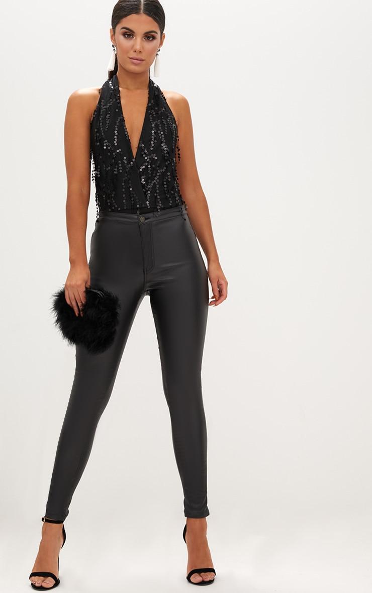 Black Sequin Halterneck Plunge Thong Bodysuit 5