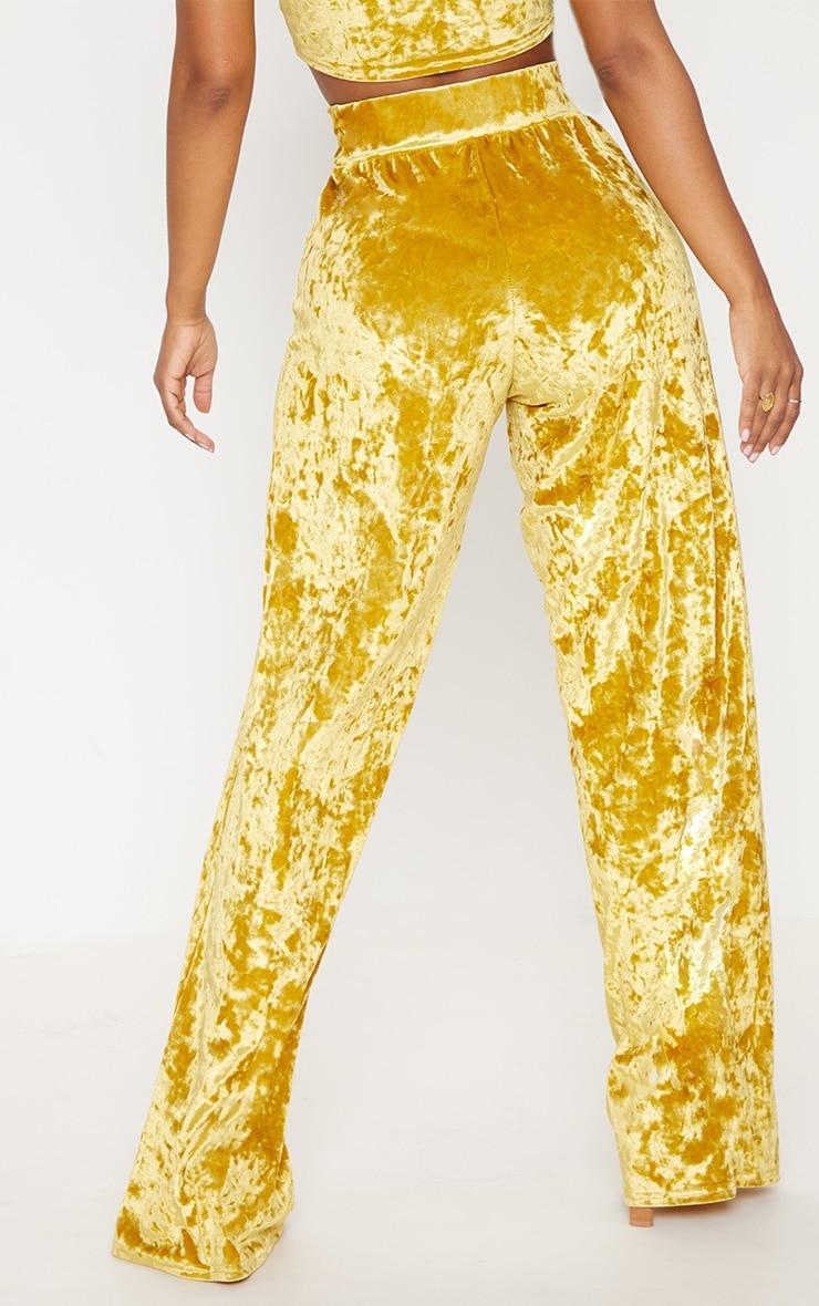 Shape Mustard Crushed Velvet Extreme Wide Leg Trousers 4