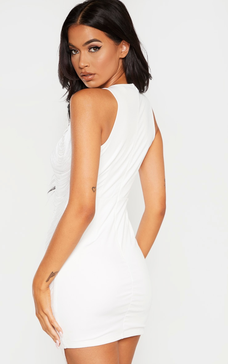 White Extreme Plunge Tassel Bodycon Dress 2