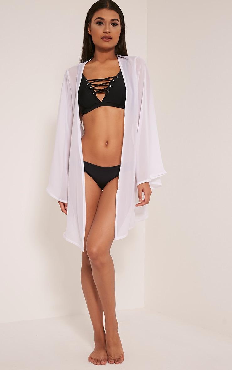 Estelle White Sheer Midi Kimono 5