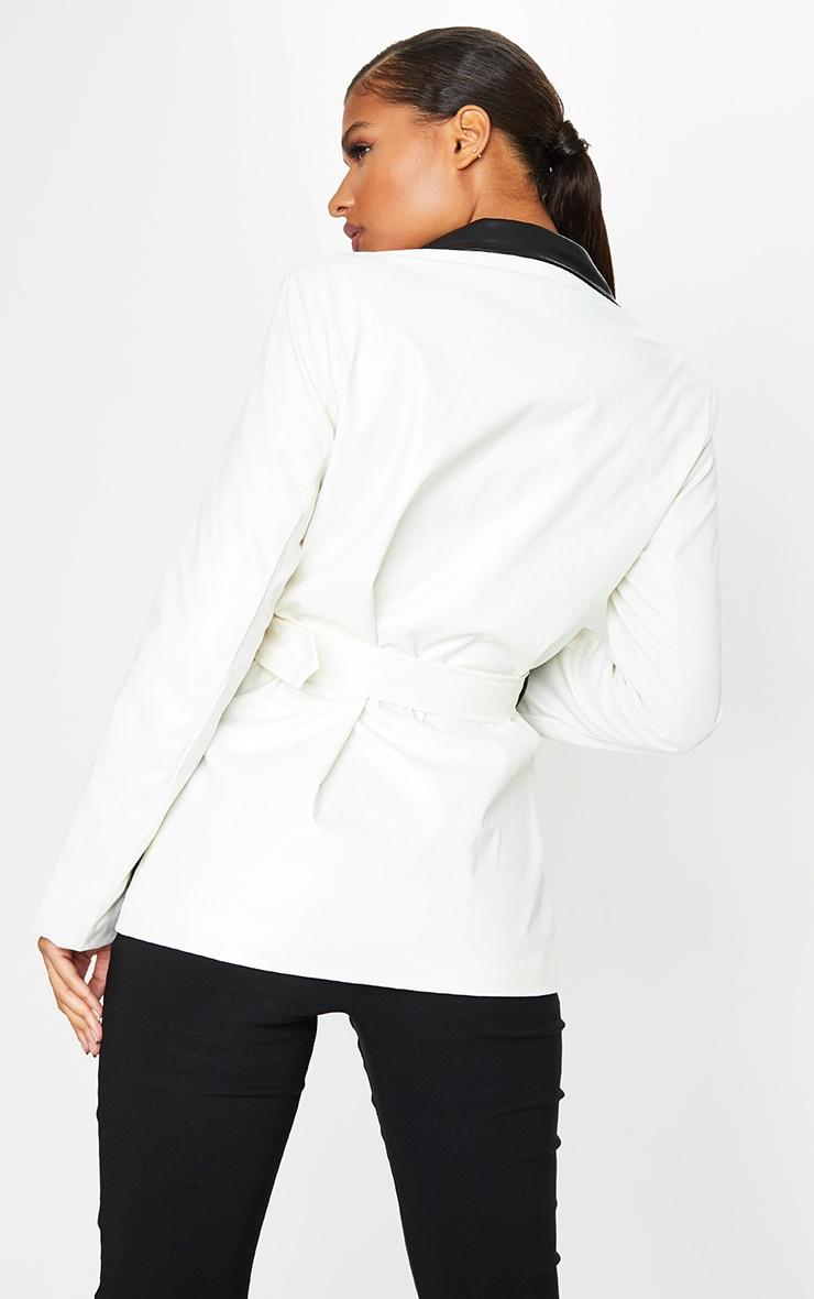 Monochrome PU Contrast Belted Blazer 2