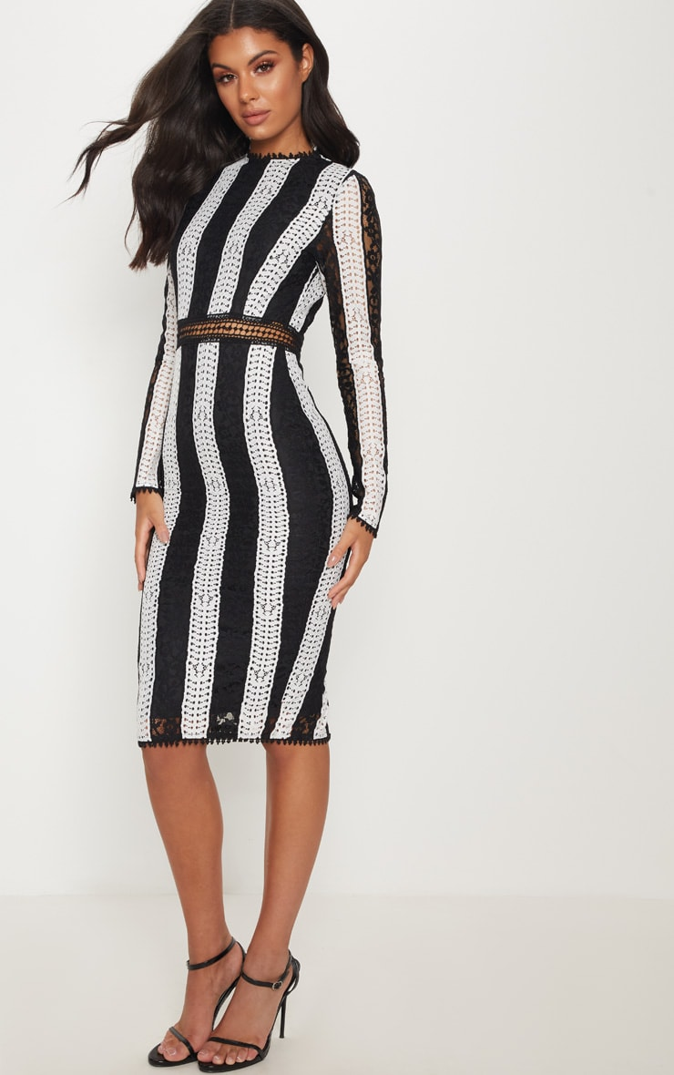 Monochrome Crochet Lace Midi Dress 1