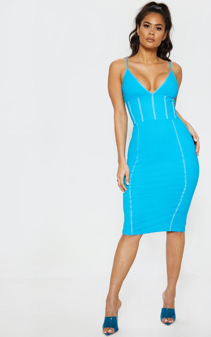 Bright Blue Binding Midi Dress Dresses