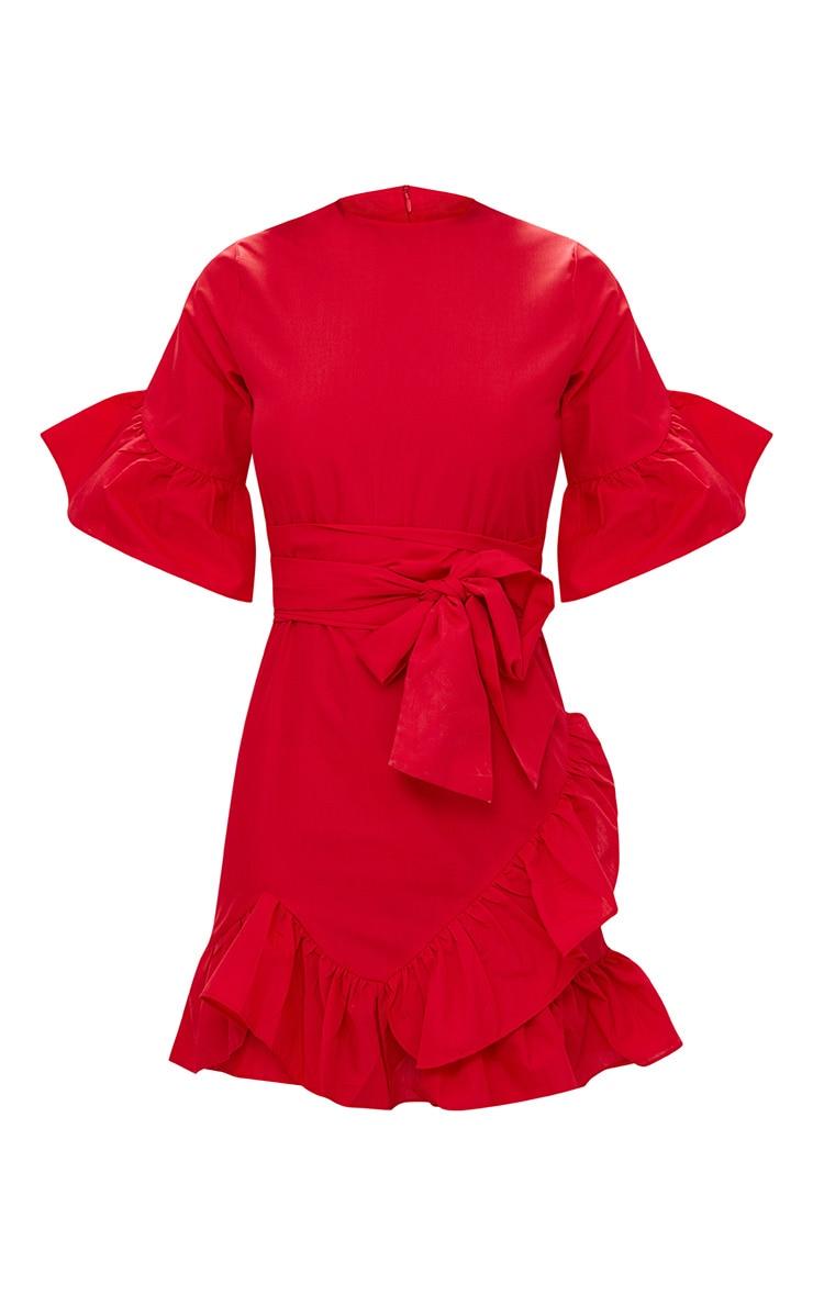 Red Frill Detail Mini Dress 3