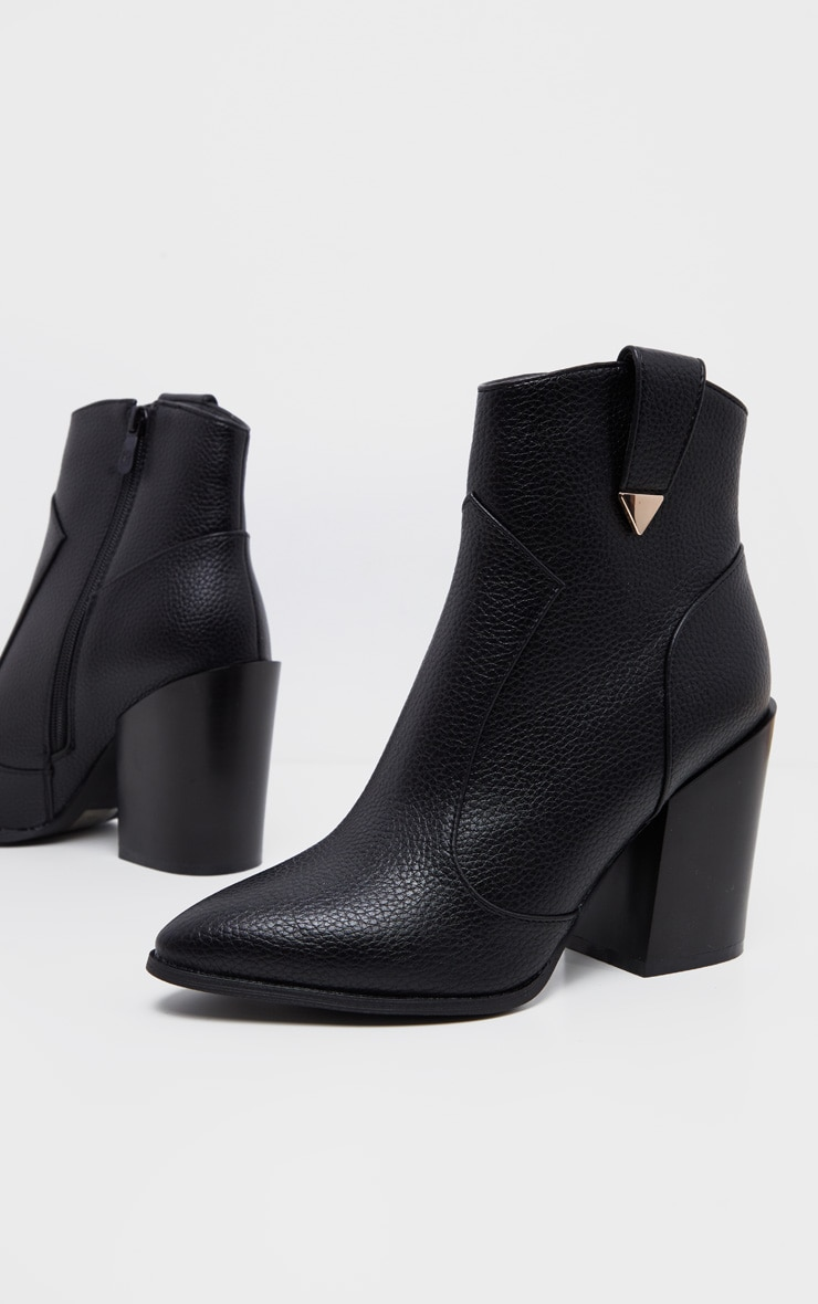 Black Western Detail Ankle Boot 4