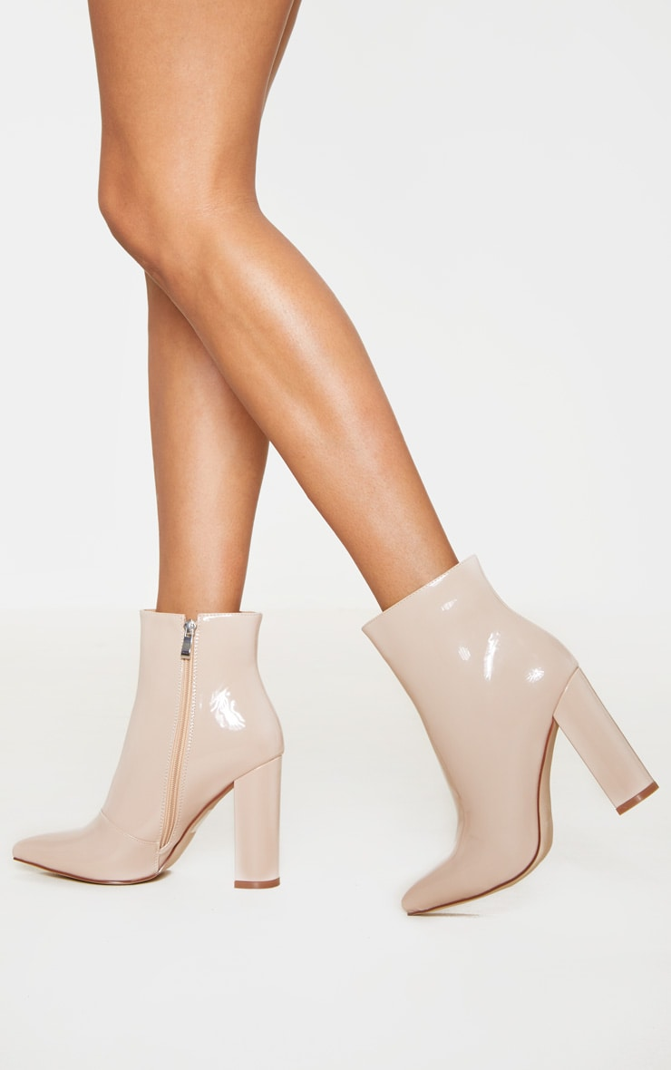 Nude High Block Heel Point Ankle Boot 1