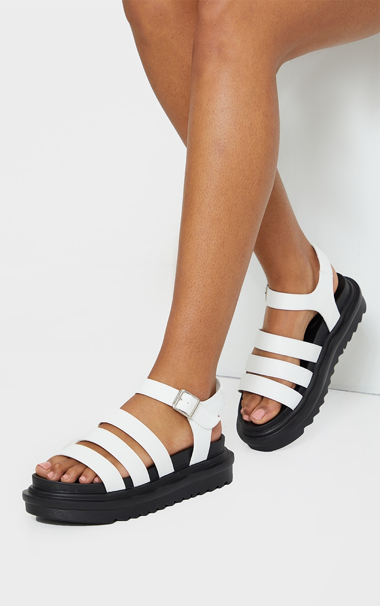 White Contrast Chunky Gladiator Sandals 2